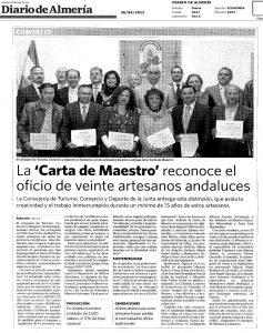 La carta de Maestro artesano reconoce a 20 Andaluces