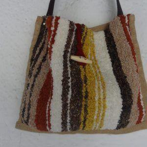 Bolso de jarapa de la Alpujarra en tonos marrones con amarillos